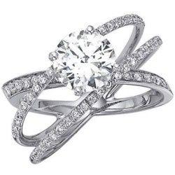 3 cross wedding band criss cross wedding ring ecc 412 - Three Band Wedding Ring