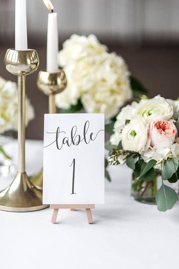 Printable Wedding Table Numbers / Calligraphy / Grey / Numbers