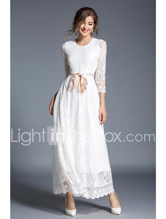 Mujer Tejido Oriental Delgado Corte Swing Negro y Blanco Vestido - Encaje,  Un Color Maxi 2018 -  731.49 ccac17f2c4