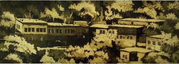 Gravür (Engrave)  Teknik : AQUATINTA  Bitlis Evleri 25x55 cm 2015