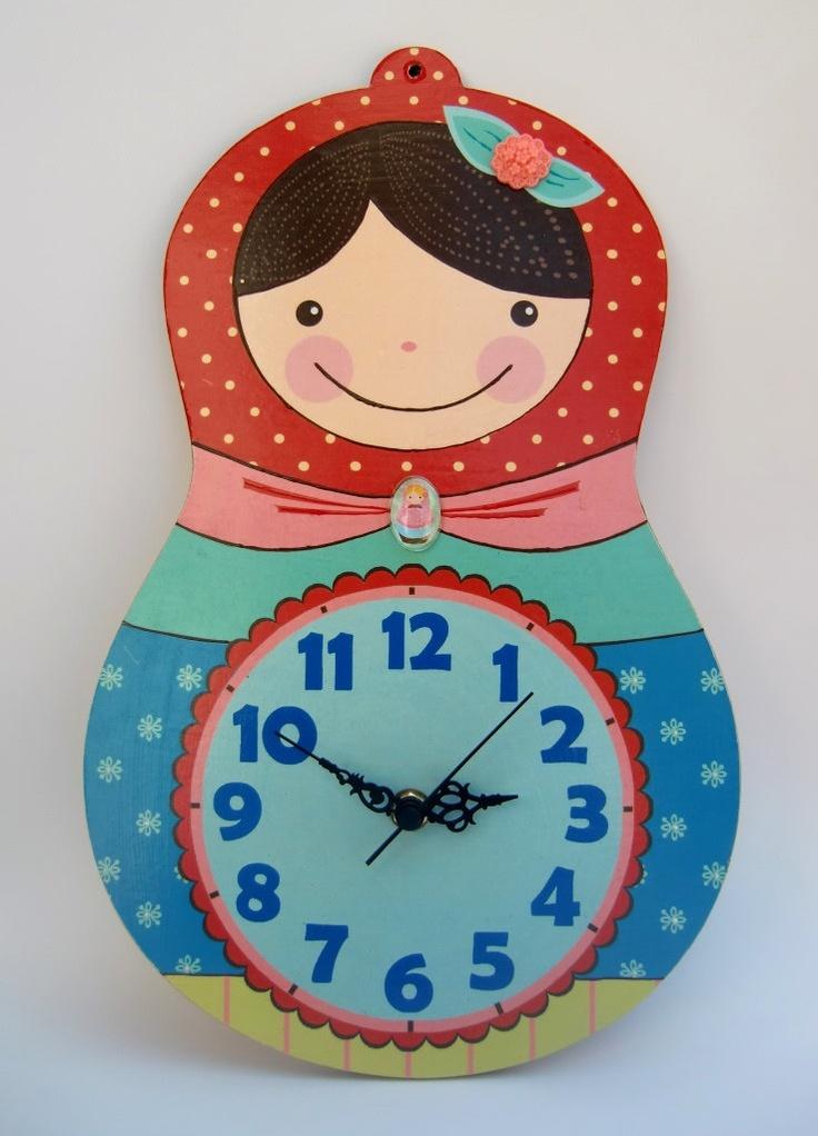 """Matryoshka clock - """"Libi"""" model. , via Etsy. emmy"""