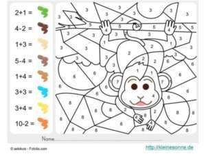 Malen nach Zahlen für Kinder - Affe