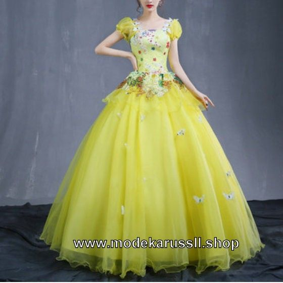 Gelbes Ballkleid 2018 Brautkleid mit Schmetterlinge
