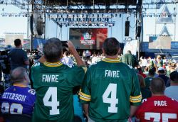CANTON, OH - AUGUST 06: Fans of Hall of Fame inductee, quarterback Brett Favre, are seen during the NFL Hall of Fame Enshrinement Ceremony at the Tom Benson Hall of Fame Stadium on August 6, 2016 in Canton, Ohio. (Photo by Joe Robbins/Getty Images)