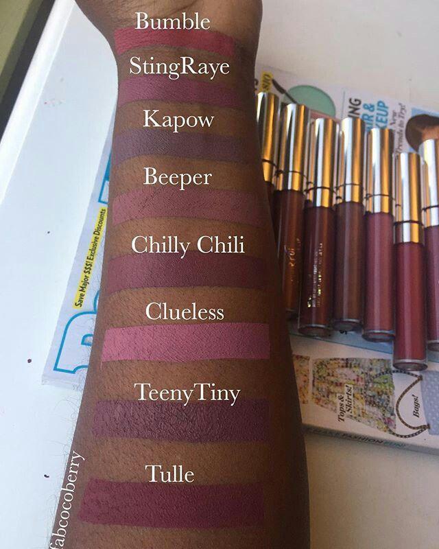 Colourpop matte lip swatches on dark skin #WOC #cocoaswatches