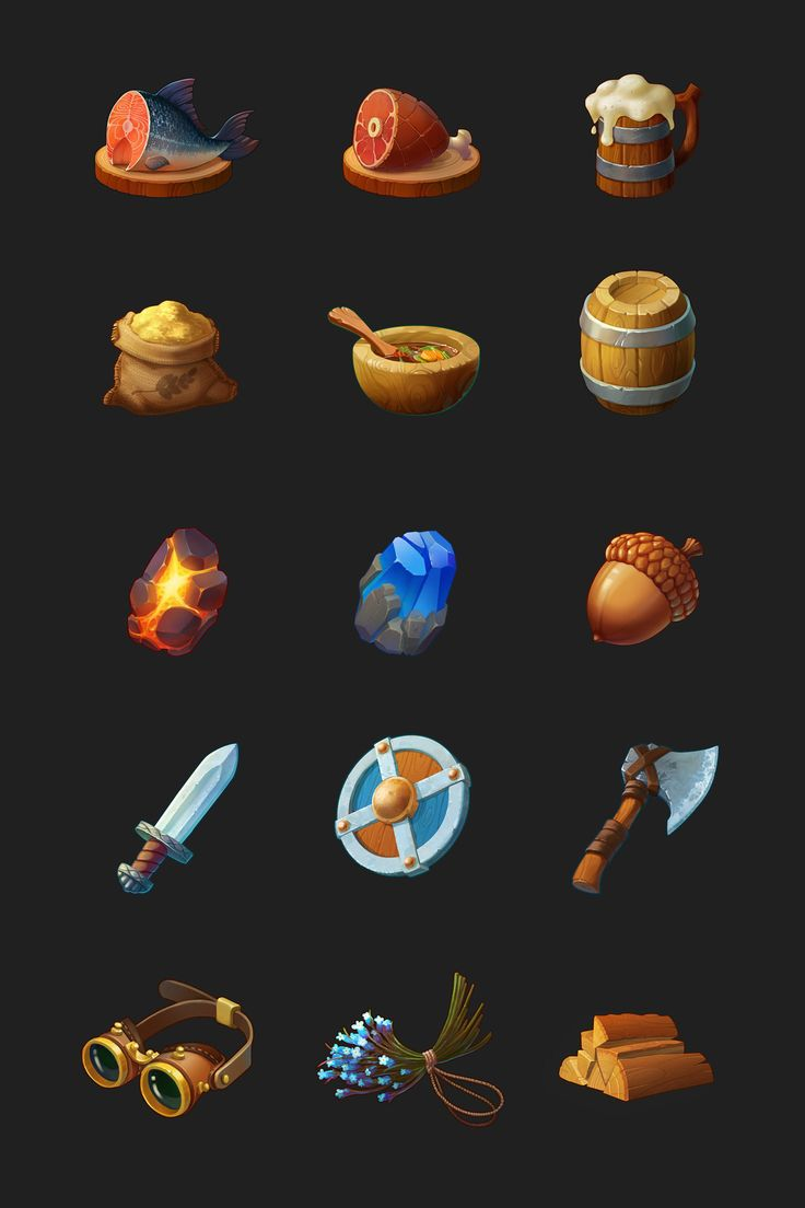 Ingame inventory items on Behance – Fantasy Items
