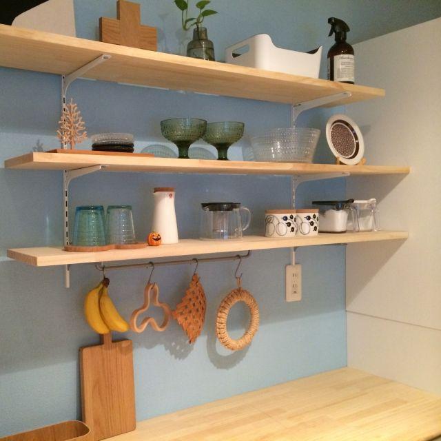 ritaさんの、食器棚,いつもと同じ,カステヘルミ,IKEA,無印良品,ハロウィン,棚,のお部屋写真