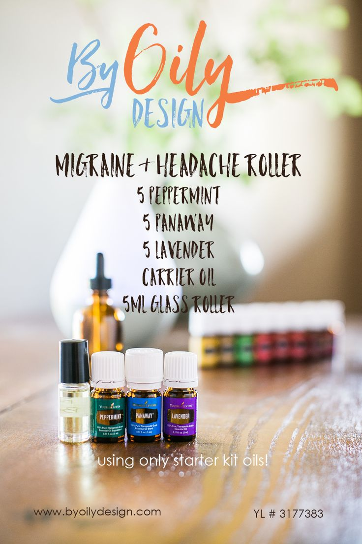 Natural way to ease migraine pain. Suffer from Migraines and headaches? Fight back with essential oils. Busy mom's ease symptoms with this powerful Migraine and headache roller using Peppermint, panaway and lavender. All Young living starter kit oils. byoilydesign.com YL member # 3177383
