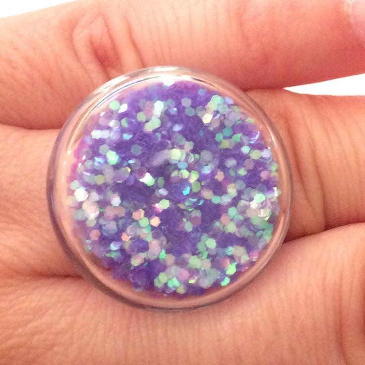 Bague bulle verre paillettes mauves réglable : Bague par manava-creation