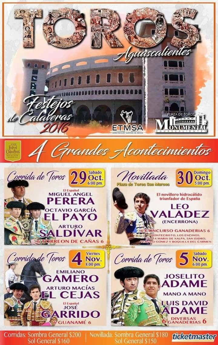 CUATRO FESTEJOS TAURINOS PARA EL FESTIVAL DE CALAVERAS - http://www.enterateaguascalientes.com/cuatro-festejos-taurinos-festival-calaveras