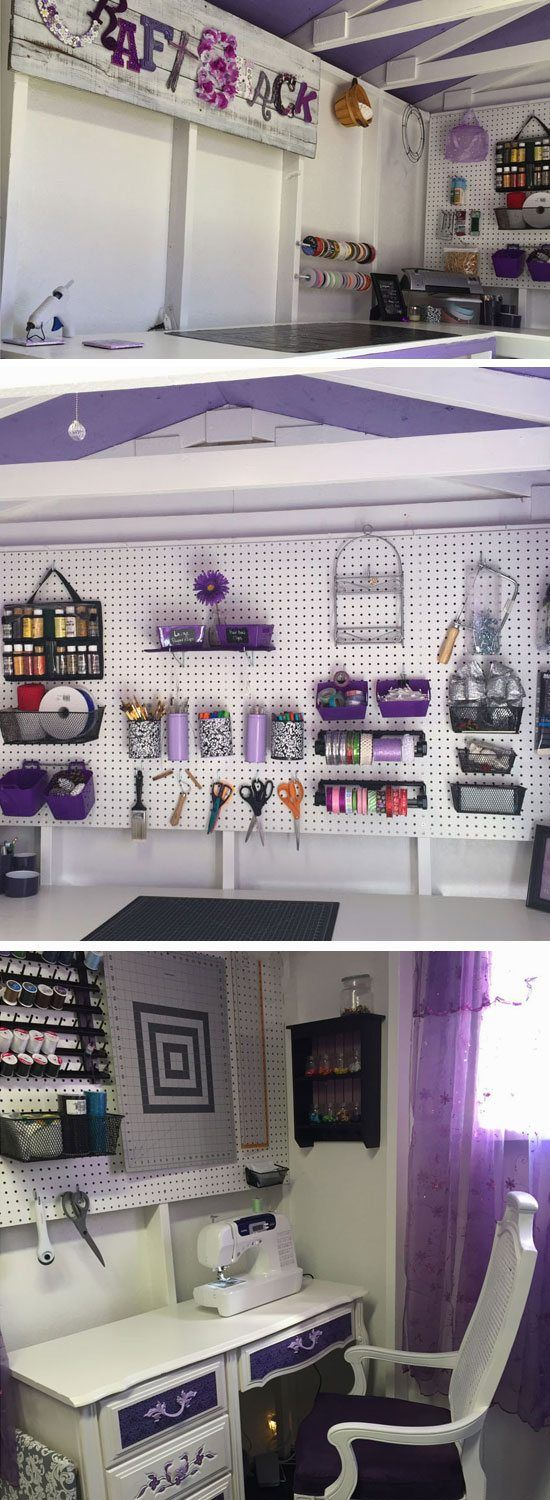 Purple Craft Shack | 17 DIY She Shed Decor Ideas for Women that give man caves a run for their money!