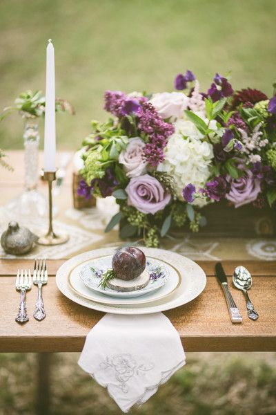 Vintage purple wedding place setting {Photo by Gina & Ryan Photography via Project Wedding}