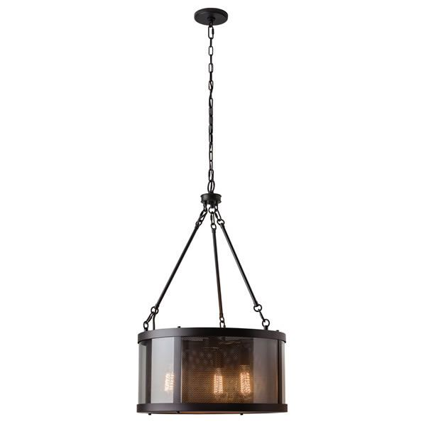 Elstead Feiss Bluffton 3lt Pendant Ceiling Light Elstead Feiss Bluffton 3lt Pendant Ceiling Light is inspired by mountain luxe trends, the transitional Bluffton collection has a perforated screen shade much like that of a cosy fireplace, with decorative hooks and rods adding to the unique, rustic details. Using antique-style bulbs creates the warm and inviting look. £459.00