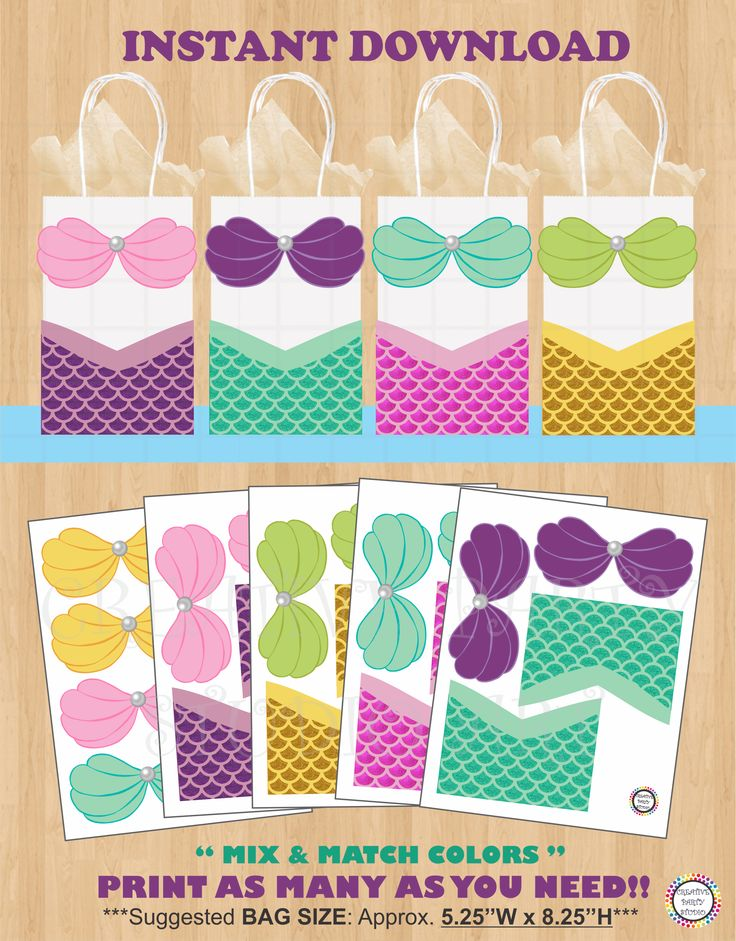Printable Mermaid Party Favor Bags/ Mermaid/ Birthday Party ideas/ Party decorations/ favors/ Kids/ Girl Birthday party/ Summer Pool Party/ Under the Sea/ pirate/ Party/ Ideas/ Mermaid treat/ goodie/ goody/ gift/ loot/ candy bags/ Mermaid cake/ cupcake toppers/ Mermaid invite/ mermaid invitations/ girl pool party/ kids/ girl summer party ideas/ DIY favor bags/ Mermaid party banner/ labels/ fiesta sirena/ sirenita/ mermaid tail swim suit/ swimmable/ festa da sereia/ mermaids/ shark party