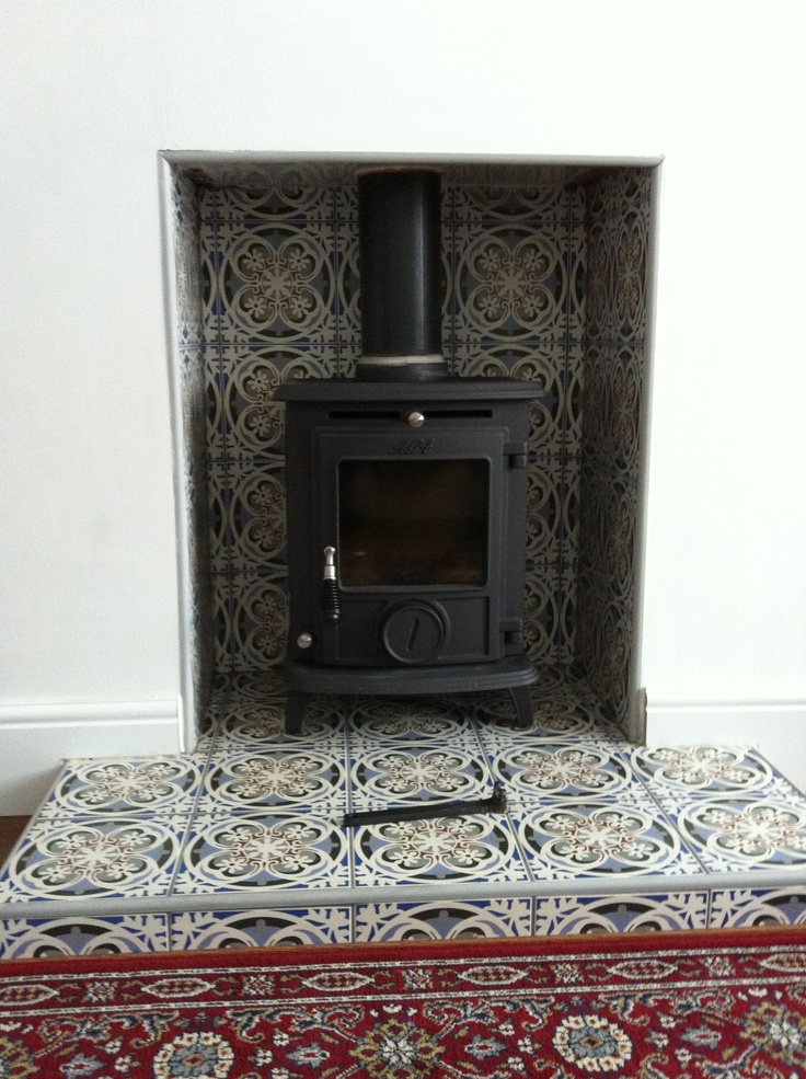 Wood burner. Nice tiling idea again.