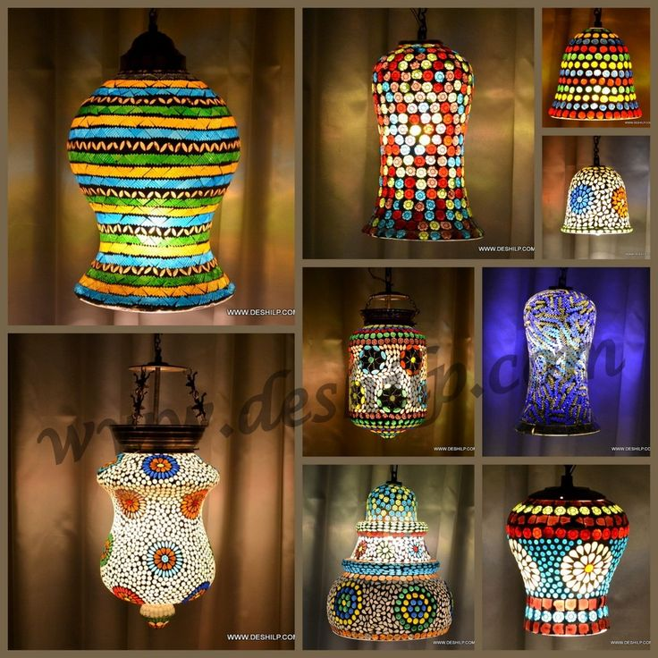 Mosaic shaped hanging light has shapes of flowers, leaves and star mosaics on it and they look amazingly beautiful when lighted in the dark. Having a crown shape this hanging light adds to the royalty of the room. We personally recommend them for drawing rooms or bedrooms. @.........https://deshilp.trustpass.alibaba.com/
