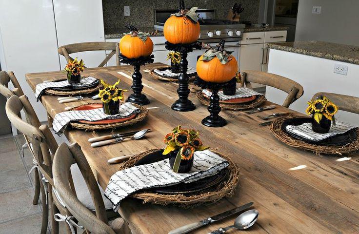 Fall harvest tablescape using Pier 1 Gratitude Script Napkins