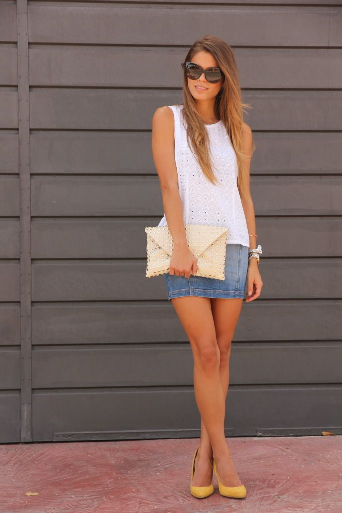white eyelet + denim + yellow pumps