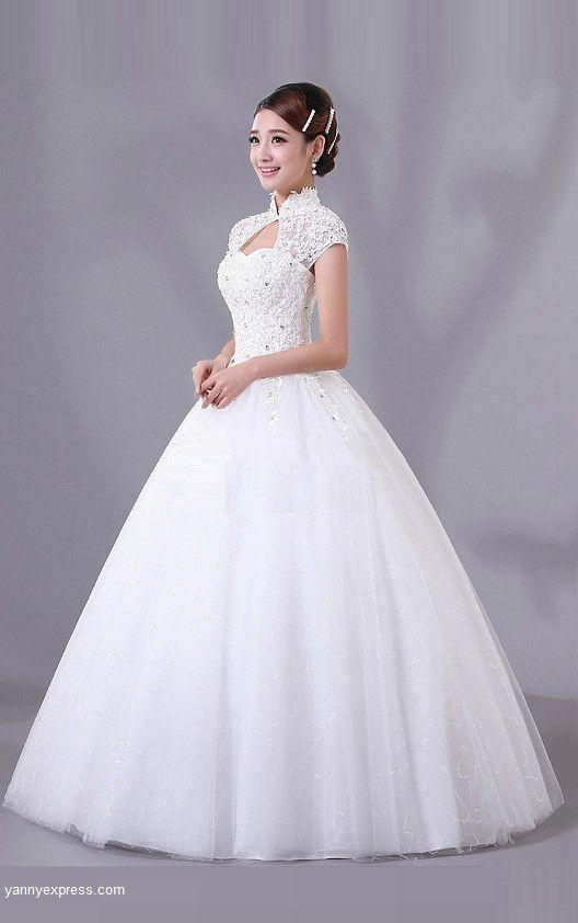 Chinese Wedding White Gown Mandarin Collar Bridal Dress