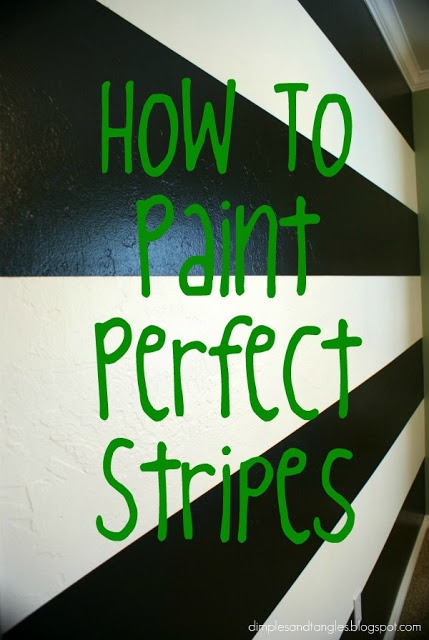 How I Painted a Perfectly Striped Wall {Tutorial} (thinking of painting gues bathroom with black/ gray/ white stripes!)