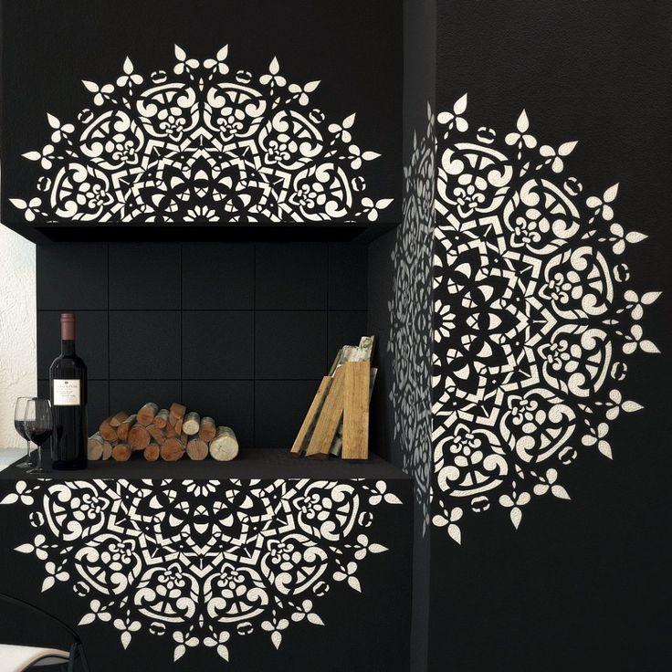 Round Symmetrical Mandala - Wall Stencil - Wall & Furniture Stencil