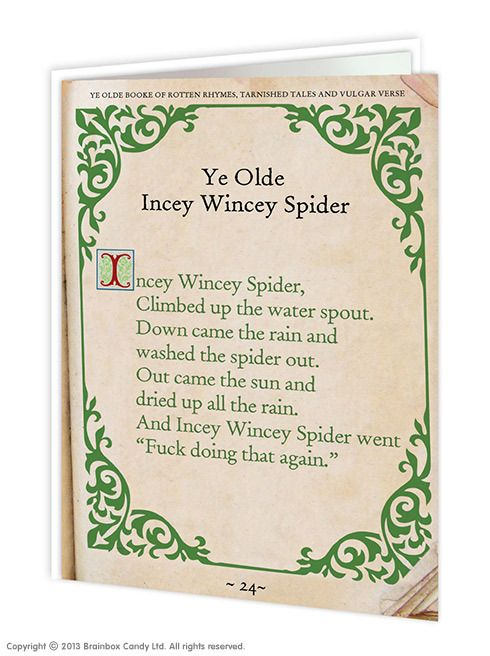 brainboxcandy.com - Incey Wincey Spider Greeting Card, £2.50 (http://www.brainboxcandy.com/incey-wincey-spider-greeting-card/)