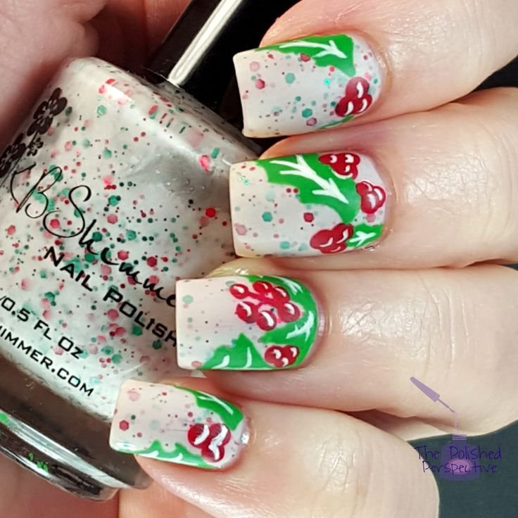 Christmas Holly Leaves nail art. Inspired by Wondrously Polished. Tutorial on my blog. http://www.thepolishedperspective.com/2015/12/christmasnailarthollyleaves.html
