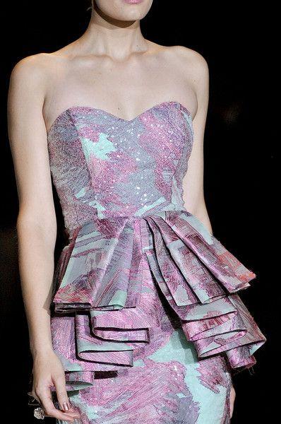 Exaggerated peplum.: Fashion Details, Mischka Spring, Style, Color, Dress, Fashion Week, High Fashion, Badgley Mischka, Spring 2012
