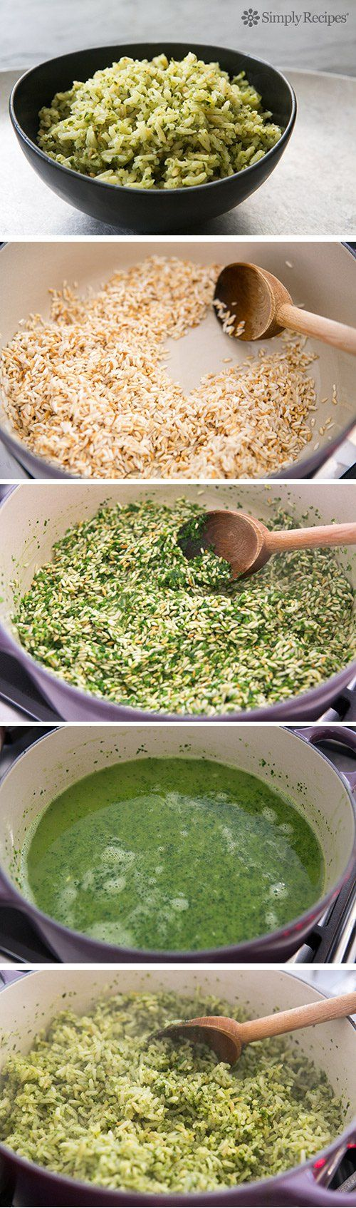 Mexican Green Rice ~ Mexican green rice, cilantro rice, a rice pilaf cooked in chicken stock with poblano chiles, parsley, cilantro, onion, and garlic. Arroz verde. ~ SimplyRecipes.com