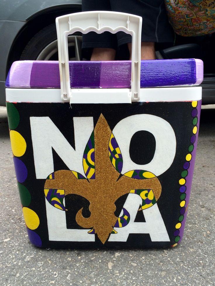 New Orleans NOLA bourbon fraternity painted cooler glitter flour de lis delta tau delta formal