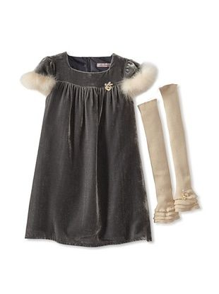 63% OFF Blumarine Girl's Velvet Dress with Marabou (Gray)