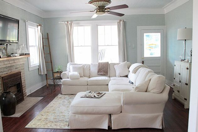 What I love about Sea Salt (SW 6204), by Sherwin-Williams, is that it is a chameleon of a color. It's blue, gray, and green, all at the same time. This means, it presents itself differently, depending on the room lighting and surroundings. Here are some examples.