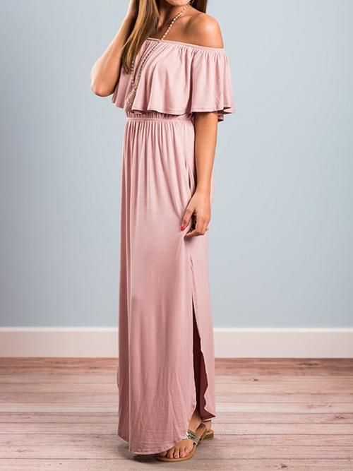 6828f44e52c85 Bardot Neck Slit Maxi Dress | Regina's