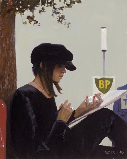"""Timing"" by Jack Vettriano, Scottish painter, born 1951."