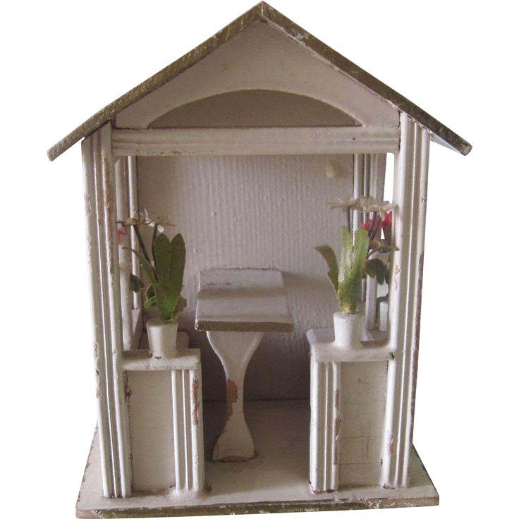 Antique Gottschalk Miniature German Dollhouse Gazebo Pavillion c1900 from la-muse-antiques on Ruby Lane