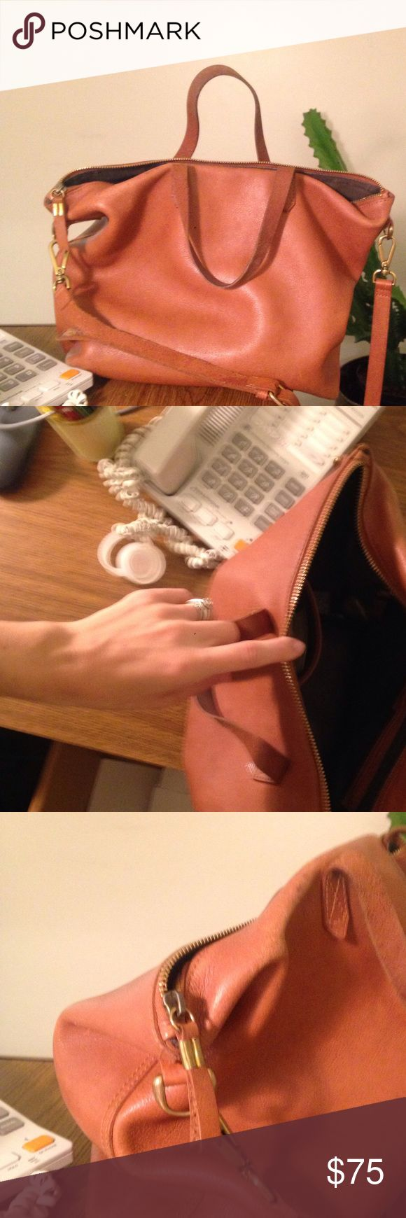 Transport zip tote light brown Well love but still in good shape. No holes. Light water stain, very faint Madewell Bags