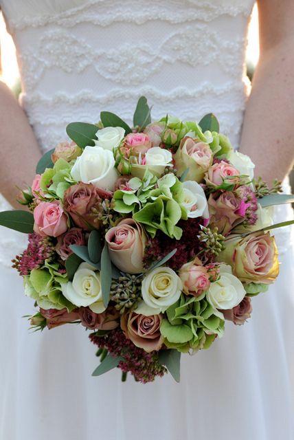 Wedding Bouquet Which Includes: Roses, Hydrangea, Sedum, Green Seeded Eucalyptus