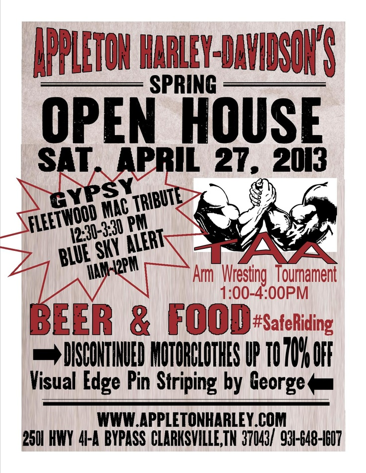 Spring Open House Sara From Sincerly Sara D: Live Music, Beer, Food, Arm Wrestling, Harley Hotties