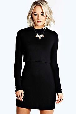 Mila High Neck Long Sleeve Bodycon Dress