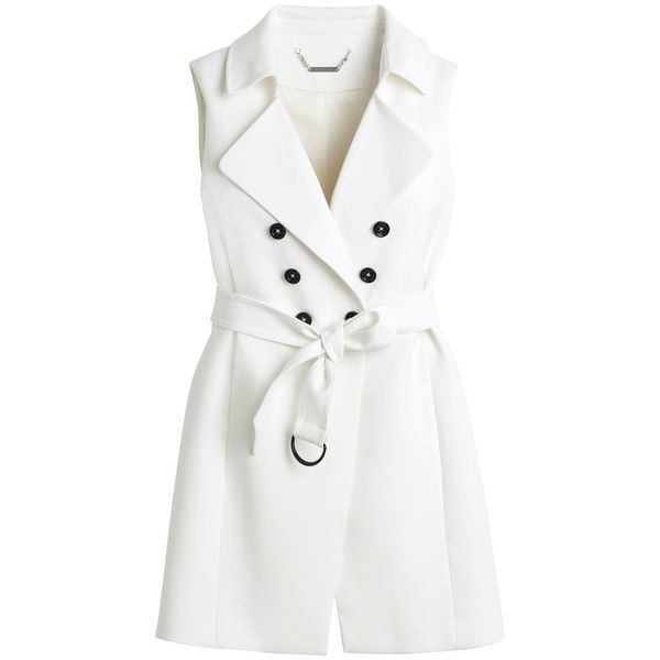 White House Black Market Sleeveless Double-Breasted Topper ($70) ❤ liked on Polyvore featuring outerwear, coats, jackets, white coat, sleeveless coat, tie belt, petite coats and trench coat