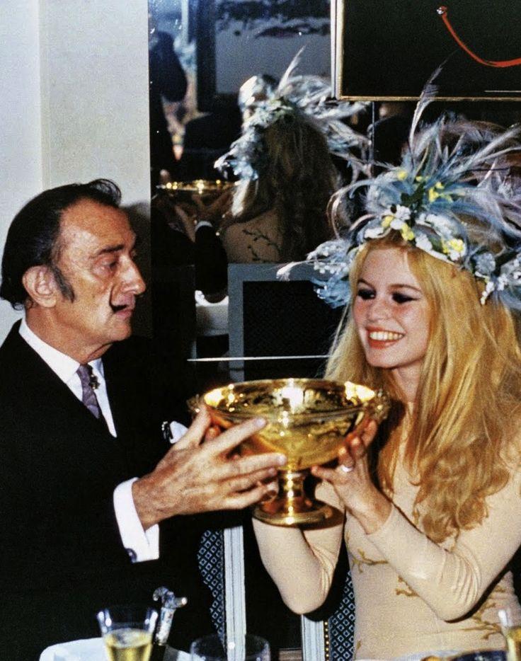 Brigitte Bardot & Salvador Dalí, New Years 1968.