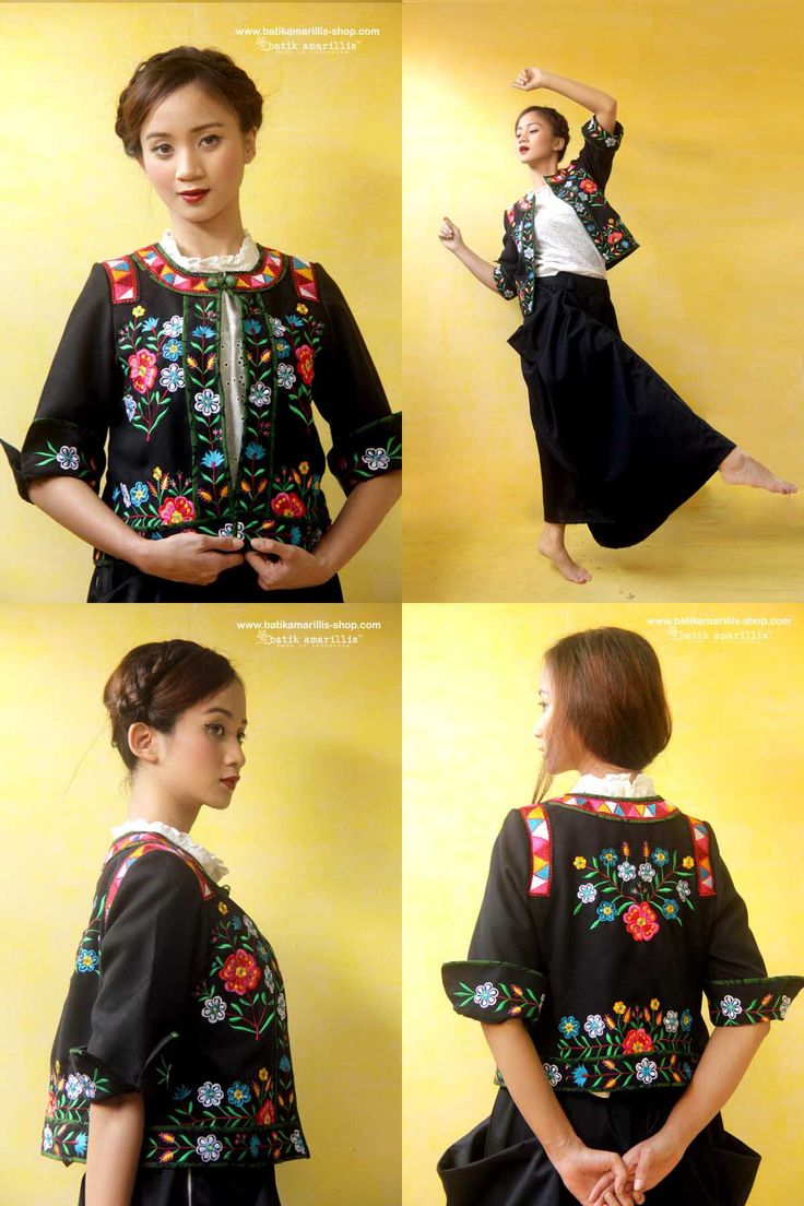 Batik Amarillis Made in Indonesia  proudly presents ♥  batik amarillis's florentyna jacket & Bohemian holiday skirt ♥.  ..Taking inspiration from Polish floral vintage embroidery, this beautiful and elegant velvet jacket crafted with impeccable details: features superb black velvet with a dramatic tenun  batik gedog piping and intricating Polish embroidery