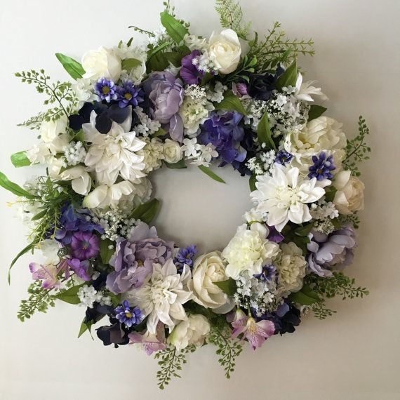 Mother's Day Wreath - Spring Wreath with Purple and White Flowers - Funeral…
