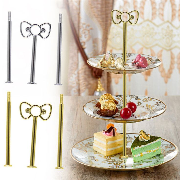 3 Tier Cake Plate Stand Bow Handle Fitting Hardware Rod Plate Wedding Finestal  | eBay