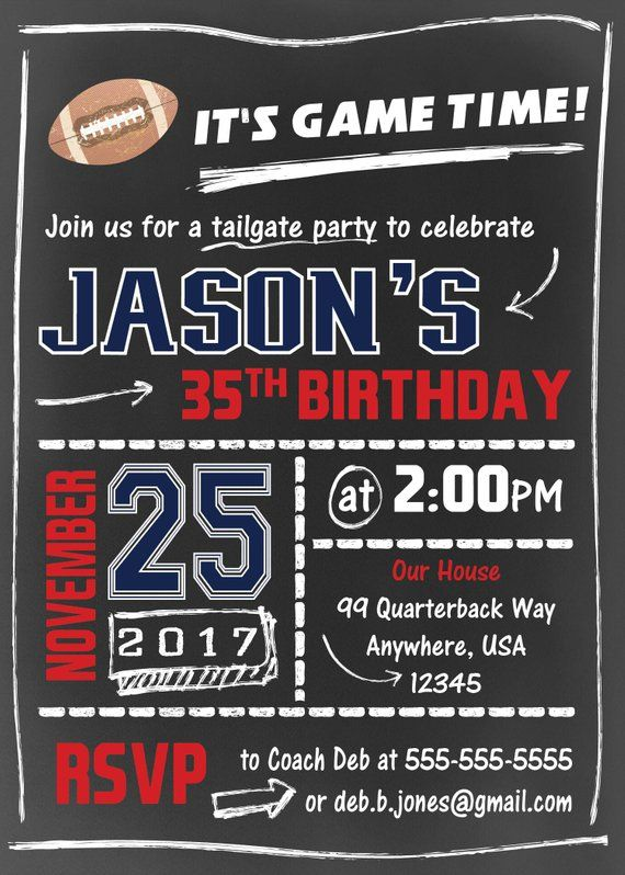 mens birthday invitation football party invite 40th birthday 50th