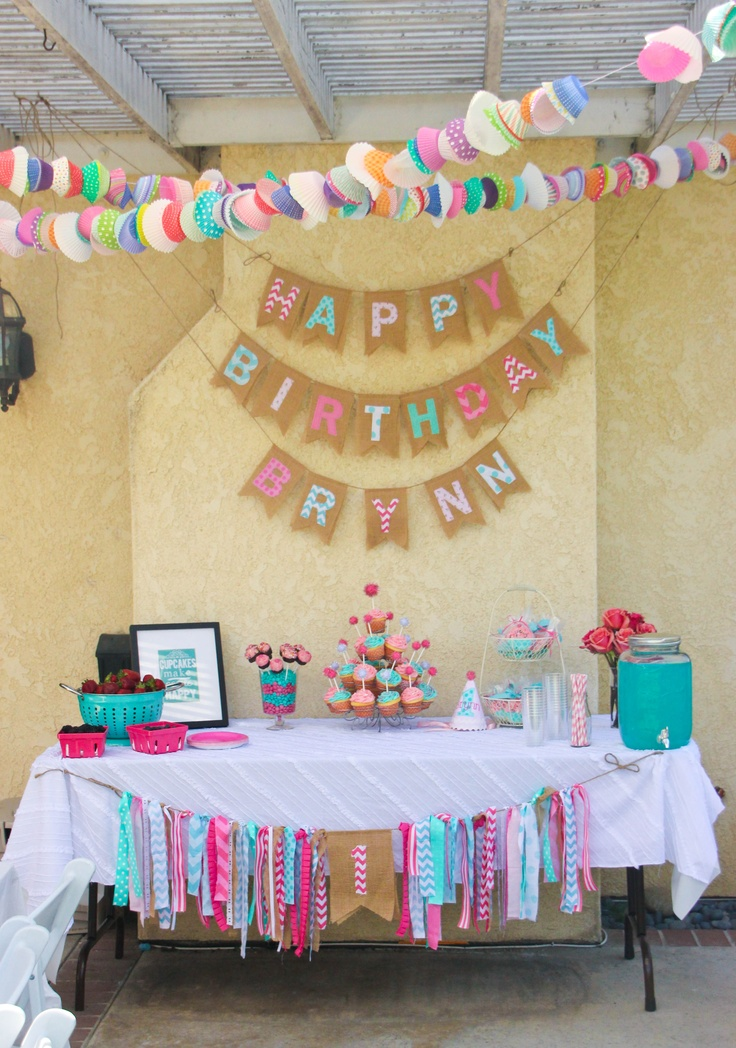 pink and aqua, cupcake themed 1st birthday