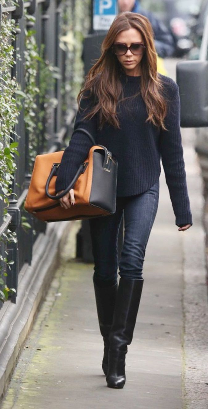 Victoria, Victoria Beckham Woman Bootcut Jeans Black Size 25 Victoria Beckham