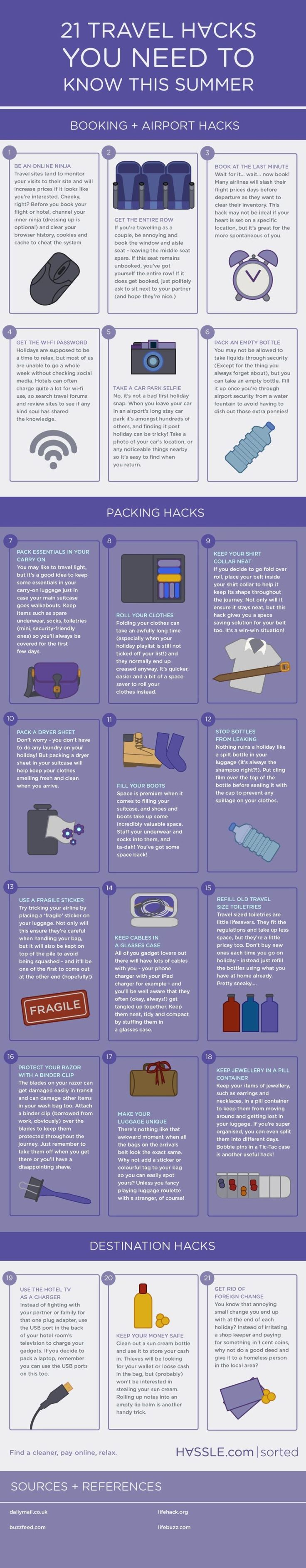This graphic breaks down those tricks that'll simplify your trip, from planning to packing to keeping your belongings safe and sound