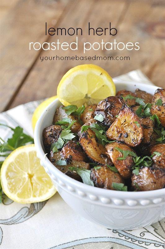 Lemon Herb Roasted Potatoes Side Dish Recipe - your homebased mom