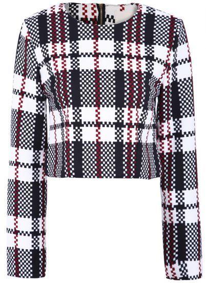Black White Plaid Long Sleeve Crop Outerwear